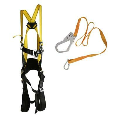 Fall Protection 5 Points Adjustable Full Body Safety Harness and Lanyard Kit