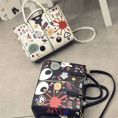 Vogue 2Pcs/set Cartoon Doodle Backpack Shoulder Bag Girls Women Handbag Durable