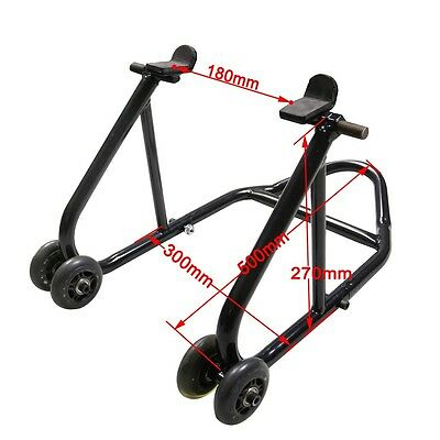 Front / Rear Bike paddock Stand Wheel Lift Chock Garage Motorcycle Motorbike