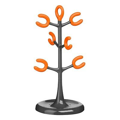 6 Cup Mug Tree Stand Holder Coffee Cups Rack Kitchen Storage Organiser Orange
