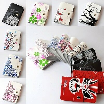 Cute Womens Ladies PU Leather Credit Card Holder ID Wallet Purse 26 Card Slots M