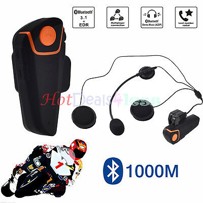 1000M BT Motorcycle Motorbike Interphone Helmet Bluetooth Intercom FM Headset UK