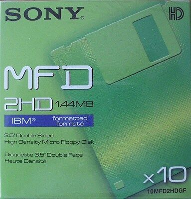 Sony 10MFD2HDGF Pack of 10 3.5 Double Sided High Density Floppy Disks - New