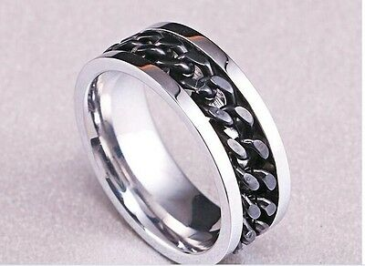 New Ladies Mens 316L Stainless Steel Black Spin Chain Ring Band Uk Sizes