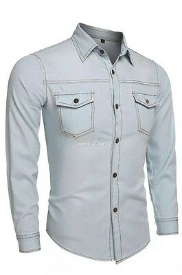 New Fashion Boy Men's Casual Button Denim Shirt Slim Fit Jean Size M