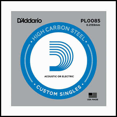 2x D'Addario PL0085 plain steel Electric / Acoustic Single Guitar String Gauge