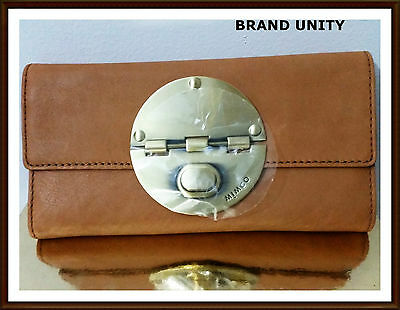 Mimco Leather Large Turnlock Clutch Purse Wallet BNWT  Honey Gold