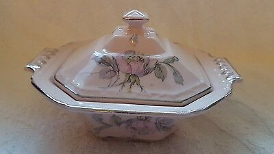REAR! Pink  Edwin M. Knowles Alice Annglow Condimint dish w/lid ANTIQUE