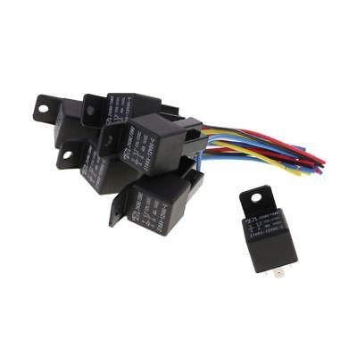5 Set Universal 12V SPDT 5 Pin Car Relay with 5 Wires Harness Socket 40 Amp