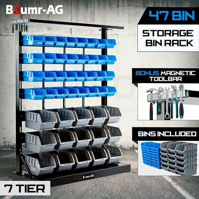 BAUMR-AG 47 Bin Storage Shelving Rack Garage Warehouse Workshop Tools Organiser