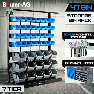 NEW 47 BIN Storage Shelving Tools Parts Rack Shelf Garage Workshop Metal 7 Tier