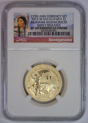 2015 W Native Mohawk Sacagawea $1 COIN & CURRENCY SET NGC SP 69 NO OGP Coin Only