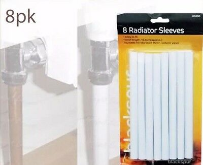 8 x 15.6CM WHITE RADIATOR PIPE COVERS SLEEVES SHROUDS SNAP AROUND YOUR PIPES