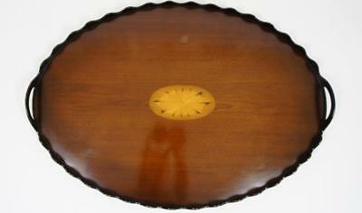Lovely Edwardian oval scalloped, Mahogany butlers or drinks tray 67cm x 46cm