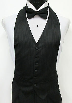 New Black Open Back Tuxedo Vest & Bow Tie Set Wedding Prom Formal Mason Costume