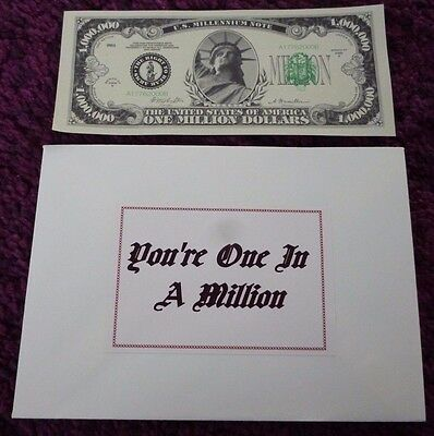 You're One In A Million Novelty Us Dollar Million Dollar Fake Note & Envelope*