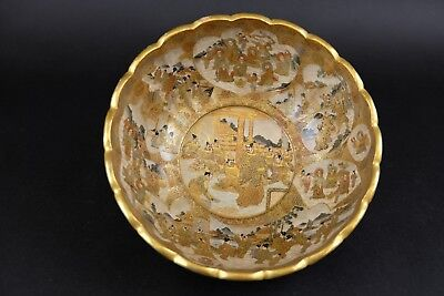 Perfect 19thC. very Large Japanese Satsuma Bowl many figures, Signed Fine Qual !