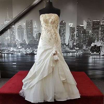 Magnificent Sequinned Lace up Gown with Train (Ivory-Gold-Size 12) Wedding etc