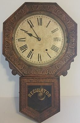 Lg Antq New Haven Pressed Oak Regulator Octagon School Wall Clock Branford 8day