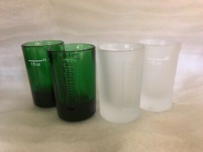 JAGERMEISTER Shot Glasses Green & Frosted Embossed Heavy 1 oz Logo Lot of 4 NEW