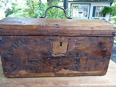 Early primitive wooden document box/trunk   1800's