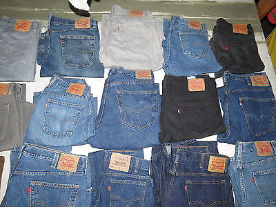Lot Of 27 Pairs Of Mens Jeans Levis Lucky Hollister 550 505 514 501 Blue Black