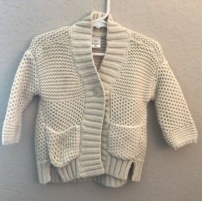 NWT Baby Gap Toddler Girl Off White Sweater with Button Closure 12 mo 18 mo