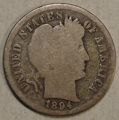 1894 Barber Dime, Better Date, Solid Good with Full Rim        0214-07