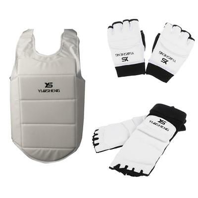 PU Padded Foot Guards + Gloves + Chest Guard for Taekwondo Boxing Muay Thai