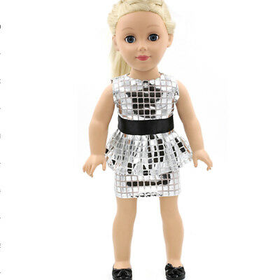"Silver Sequins Dress for 18"" American Girl Doll Our Generation Journey Girl"