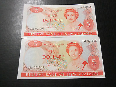 x2 New Zealand Uncirculated $5 Hardie type 2 notes.