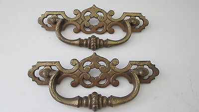 Vintage Antique Hardware PAIR  Drawer Pulls Handles  Ornate Stationary 7""