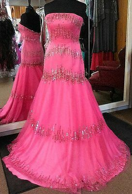 New Hot Pink Sequin Prom Pageant Party Cocktail Evening Dress Ball Gown Size 10