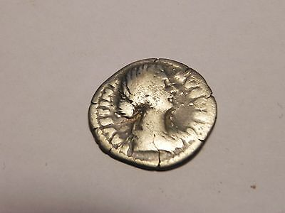 The Roman Empire silver coin, denar (denarius). Faustina