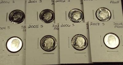 8 SILVER Proof Dimes 2000-2006 & 2008 FREE SHIPPING