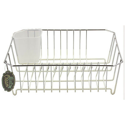 Chrome Silicon Dipped Dish Drainer Cream Utensils Cutlery Draining Tray Rack New