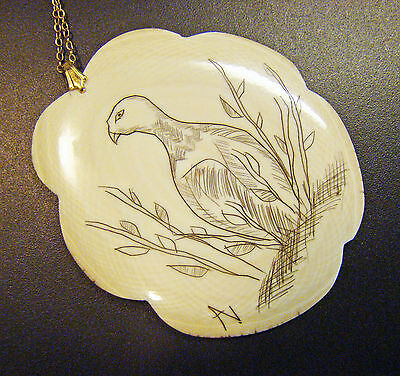 Large Scrimshaw etching of Country bird in field, necklace w/ gold fill chain