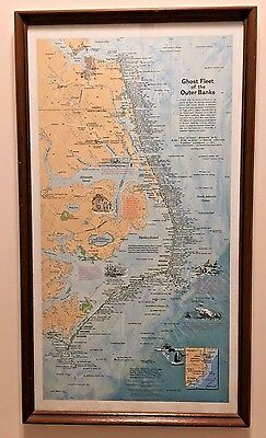 Ghost Fleet of the Outer Banks Framed Map - eastern US seaboard ship wrecks 1970