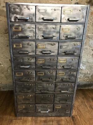 Stunning Vintage Industrial  Stripped Metal 24 Drawer Cabinet