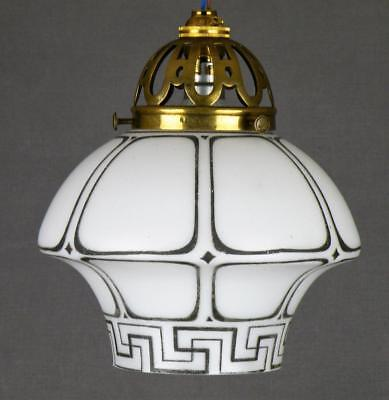 Edwardian Supastone Art Nouveau Art Deco Handpainted Glass Light Lamp Shade