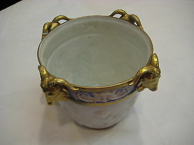 Sevres Porcelain Bucket with Gold Trim and Four Ancient Animals Heads