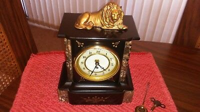 French Art Deco Marble Clock With Lion Figure - Beautiful Must See !!!