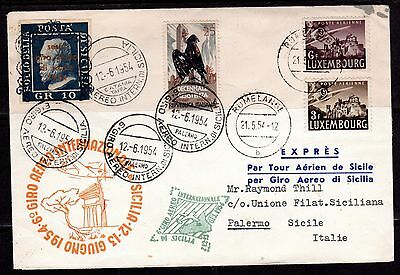 """Luxembourg Italy 1954 First Air Mail Flighty """" Guiro Aero Inernational Di Scilia"""