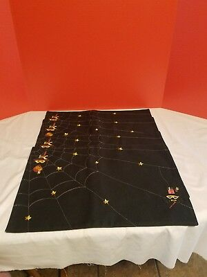 Longaberger Halloween Black Striped Web Weaver Place Mats Set Of 4