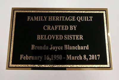 "3"" x 5"" Solid Brass Plate Picture Frame Art Memorial Name Tag FREE ENGRAVING"