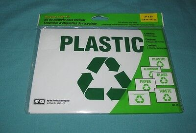 "NEW = RECYCLE SIGN LABEL KIT SELF AHESIVE VINYL LABELS = 6 PIECES 7"" x 5"" KIT-10"