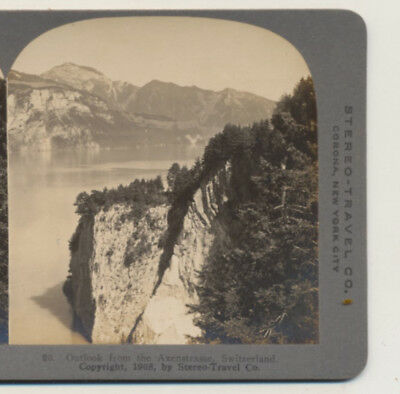 Outlook from Axenstrasse Switzerland Stereo Travel Stereoview
