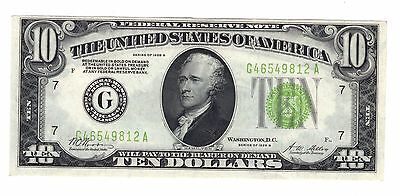 1928 B $10 Chicago Federal Reserve Note, Light Green Seal - Choice Au+ !!