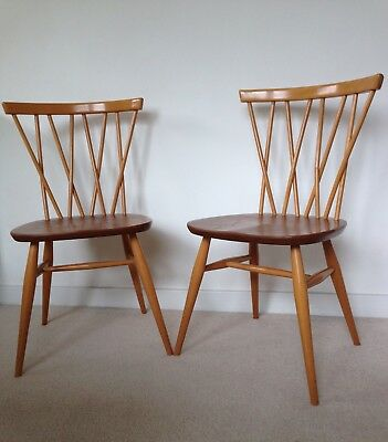 Pair of Vintage 1960s Ercol Windsor 'Candlestick' 376 Blonde Dining Chairs