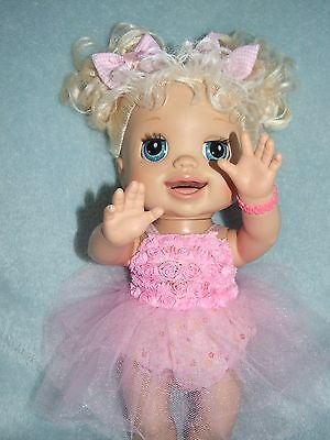 BABY ALIVE 40cm Dolls Clothes / Dress~Bloomers~Hairbows / pink tulle & roses